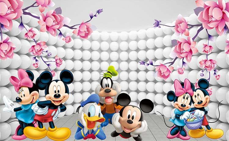 US $17.54 35% OFF|3D Benutzerdefinierte Tapete Cartoon Fototapete Mickey  Maus Wandmalereien kinder Schlafzimmer Jungen Mädchen Kinderzimmer dekor  Rosa ...