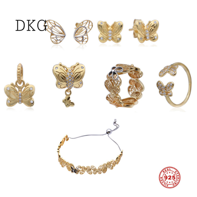 2019 NEW 925 Sterling Silver Gold Shine Decorative Openwork Butterfly Charm Set Fit Original DKG Bracelets DIY Jewelry for Women2019 NEW 925 Sterling Silver Gold Shine Decorative Openwork Butterfly Charm Set Fit Original DKG Bracelets DIY Jewelry for Women