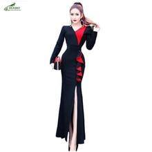 Winter ladies new fashion dress lotus leaf was thin waist Slim split fishtail dress casual long-sleeved clothing dress OKXGNZ