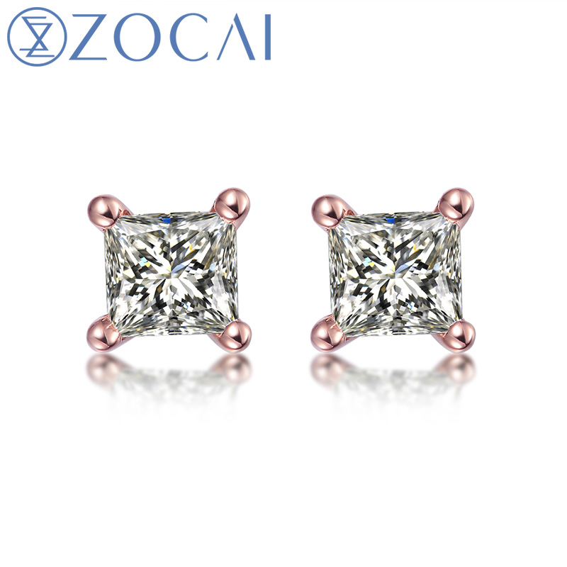 ZOCAI 100% Natural Diamond 0.18 ct Princess Cut Genuine Diamond Stud Earrings 18K Gold E80009T ...