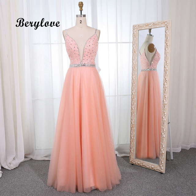 BeryLove Blush Sequined Beading Tulle Formal Evening Dresses 2019 Long Deep  V Neck Evening Gowns Styles Special Occasion Dress 7c6235a9ab01