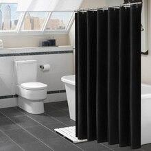 Современные черные занавески для душа из водонепроницаемой ткани, одноцветные занавески для ванной комнаты, Большие широкие занавески для купания, 12 крючков
