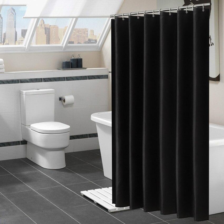 現代黒シャワーカーテン防水生地ソリッドカラーのバスカーテン浴室浴槽大型ワイド水着カバー 12 フック