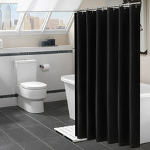Modern Black Shower Curtains Waterproof Fabric Solid Color Bath Curtains For Bathroom Bathtub Large Wide Bathing Cover 12 Hooks(China)