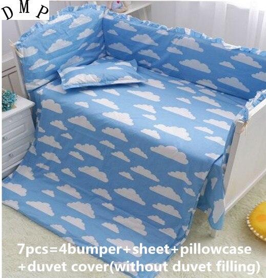 6/7pcs Blue Cloud Cartoon Baby Bedding Set Protetor De Berco Curtain Crib Bumper Baby Cot Sets Baby Bed Bumper,120*60/120*70cm