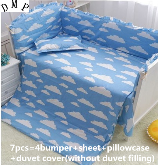 Discount! 6/7pcs Cartoon baby bedding set cotton curtain crib bumper baby cot sets baby bed bumper,120*60/120*70cm promotion 6 7pcs cot baby bedding set 100% cotton fabric crib bumper baby cot sets baby bed bumper 120 60 120 70cm