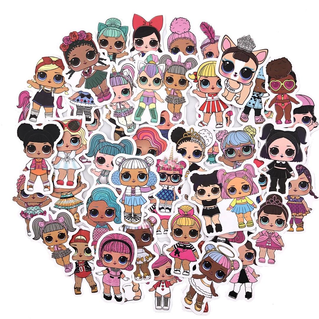 50pcs LOL Stickers Personality Lol Doll Stickers Children's PVC Graffiti Stickers Suitcase Car Boot Guitar Waterproof