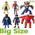 6 Pçs/lote 14 CM Mais Novo Super brinquedos enfeites de boneca big hero6 Marines Baymax Action Figure Modelo de Brinquedo de Presente