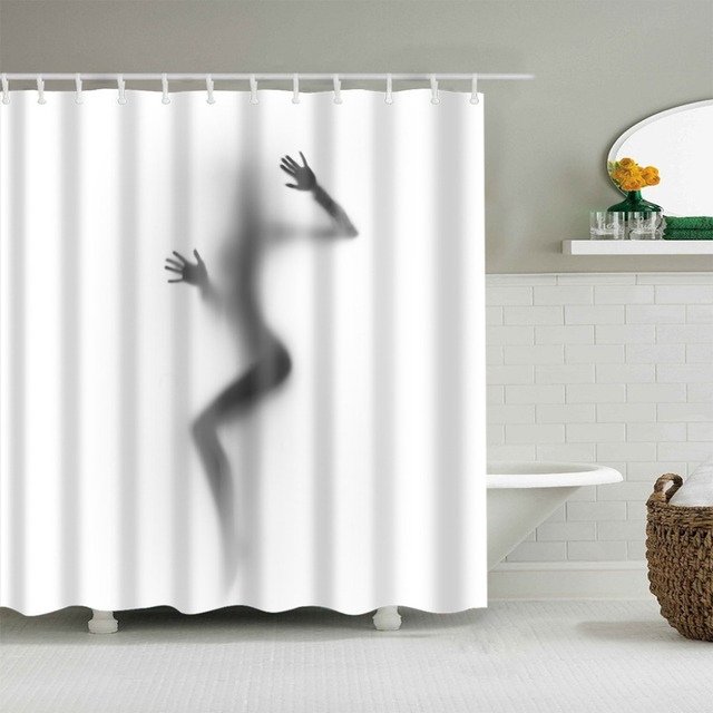 Black And White Shadow Printing Shower Curtain Eco Friendly Waterproof Bathroom Polyester Bath For