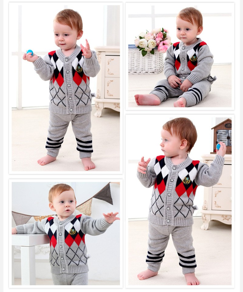 2PCS New Baby Set Plaid Cardigan Suits Knitted Boys Sweater Autumn Winter Boys Suits Boys Cloth Set Baby Clothing Free Shipping (7)