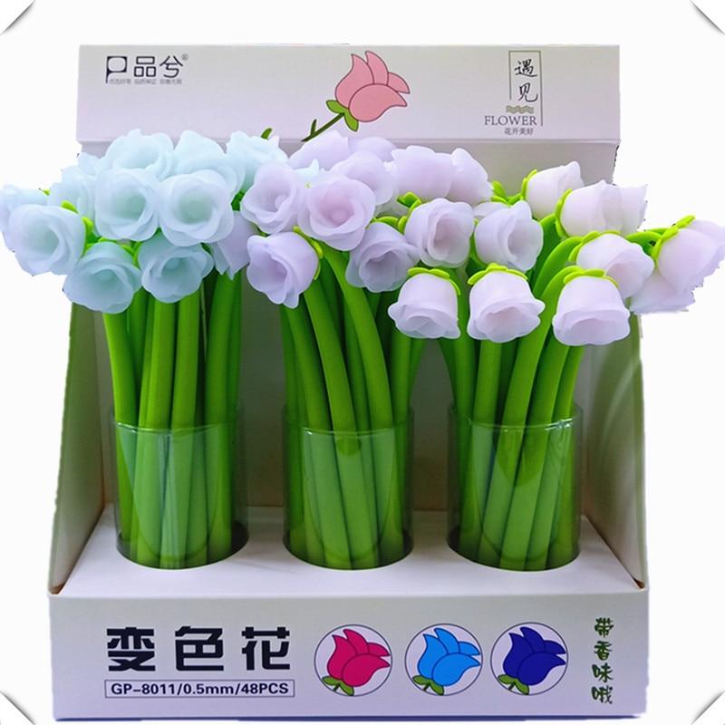 Ofis ve Okul Malzemeleri'ten Jel Kalemler'de 48 adet/grup Yaratıcı kırtasiye jel kalem gül çiçek renk değişimi silikon 0.5mm siyah mürekkep öğrenci okul ofis düğün kalemler'da  Grup 1
