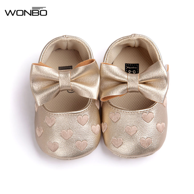 Wonbo Baby Moccasins Baby First Walkers Soft Bottom Butterfly-knot Baby Shoes Prewalkers Boots for 0-18M Babies