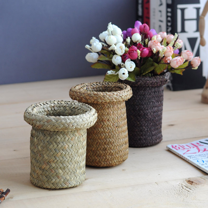 Flower pots planters seaweed handwork penholders home decoration natural weed crafts desktop organization european straw vase