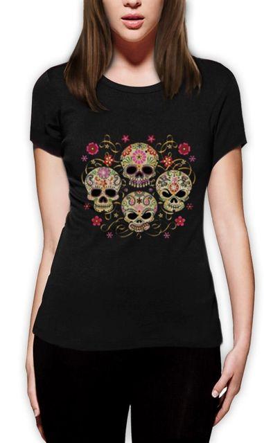 Print T Shirts Original Short Women New Style Crew Neck Dia De Muertos Day Of The Dead Mexican Tattoo Sugar Skull Gift Tee Shirt