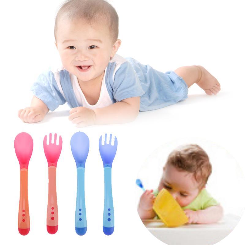 Baby Feeding Safety Tableware Soft Spoon Fork Set Temperature Sensing Flatware Spoon Feeding Flatware Baby Feeding Feeder
