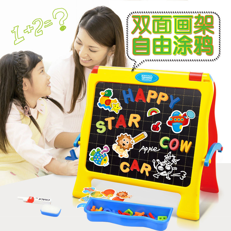 ФОТО First, children English magnetic alphanumeric posted early puzzle board double desktop board easel