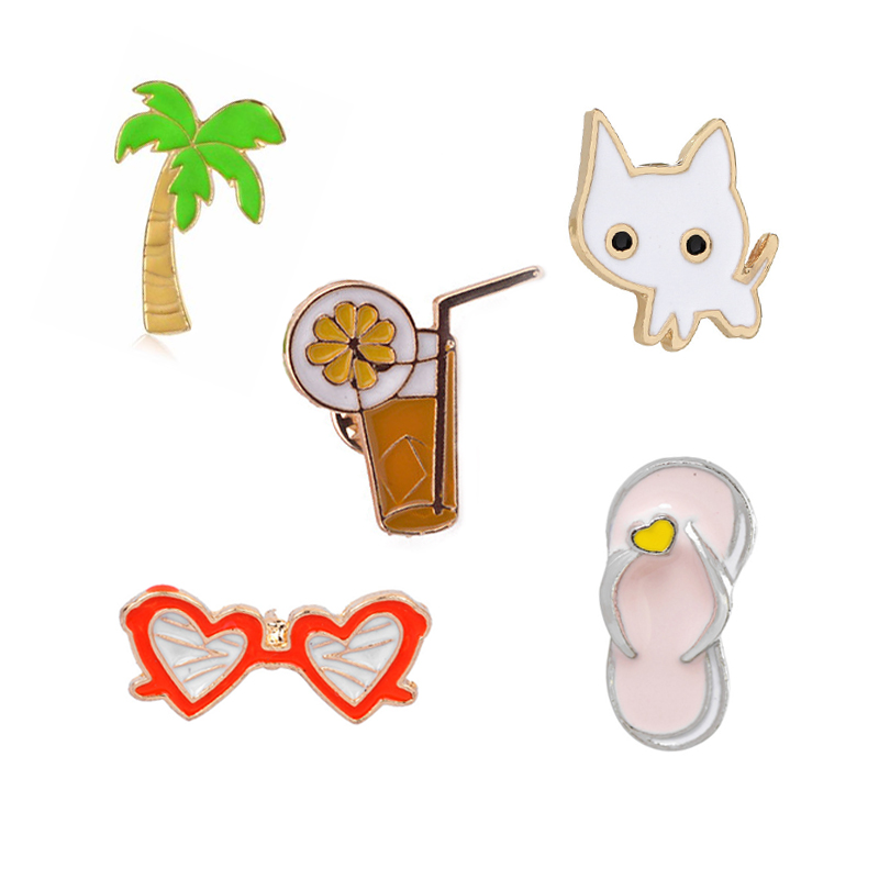 Hot Sale Creative Cat Coconut Tree Orange Juice Sunglasses Slipper Mini Enamel Brooches Beach Style Shirt Collar Brooch Pins