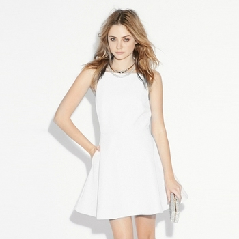 A-line Slim Slash Mini Dress