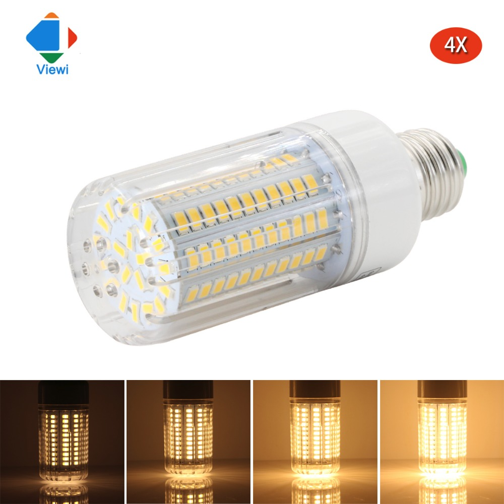 Viewi 4X ampoule Dimmer led bulb super bright 110v 220v E27 25W dimmable corn bulbs light for home lighting 5736 130 leds lamps