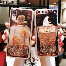 Kelibo cubierta Quicksand para iPhone X 7 8 oso teléfono carcasa para iPhone 6 6s Plus XR XS Max Bling dinámico Mar soleado niña lindo