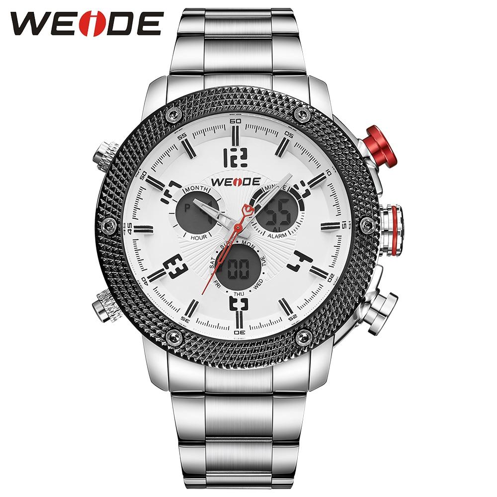 ФОТО WEIDE Luxury Brand Fashon Men's Quartz Watch Men Watch Stainless Steel Band Analog Digital Display Date Famous relogio masculino