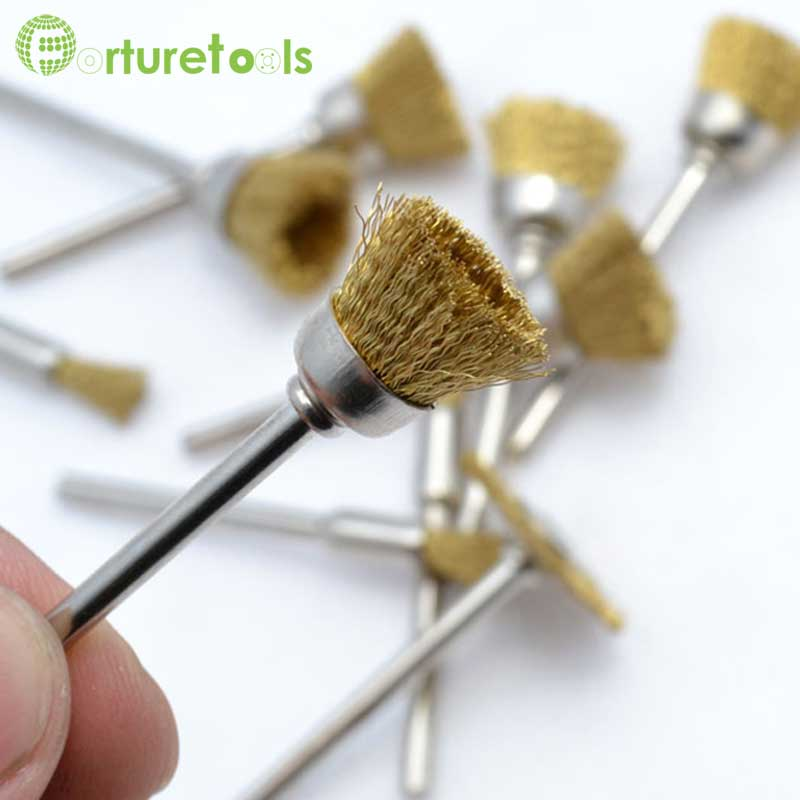 Dremel wire brush Accessory for rust removal shank 3mm pencil bowl T shape head TB008
