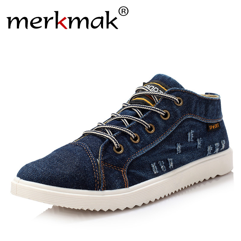 British Style Fashion Vintage Denim Jean Canvas Shoes Men High-top Casual Man Ankle Boots Flat Shoes Usual School Boy Footwear