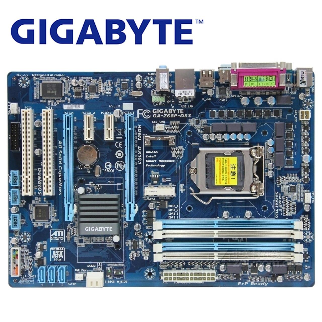 LGA 1155 DDR3 For Intel Z68 Gigabyte GA-Z68P-DS3 Original Motherboard 32G Z68P-DS3 Desktop Mainboard SATA III II USB 3.0 Boards 100% original desktop motherboard for gigabyte ga f2a55 ds3 socket fm2 ddr3 solid capacitor