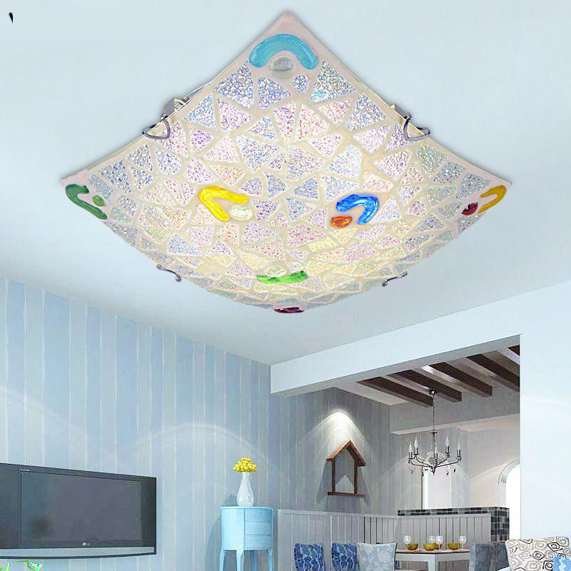 modern  Mediterranean Sea Shell Surface Mounted ceiling lights e27 LED square ceiling lamp for bedroom y1010 tiffany mediterranean style peacock natural shell ceiling lights lustres night light led lamp floor bar home lighting
