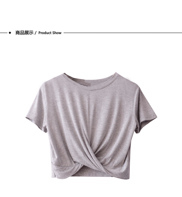Le 2019 été modal croix plissée crop crop T-shirt pour les femmes à manches courtes donne un look slim, taille haute