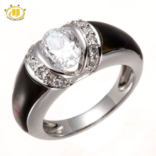 HUTANG White CZ & Black Mother of Pearl Solid 925 Sterling Silver Ring Unique Design Jewelry High Quality