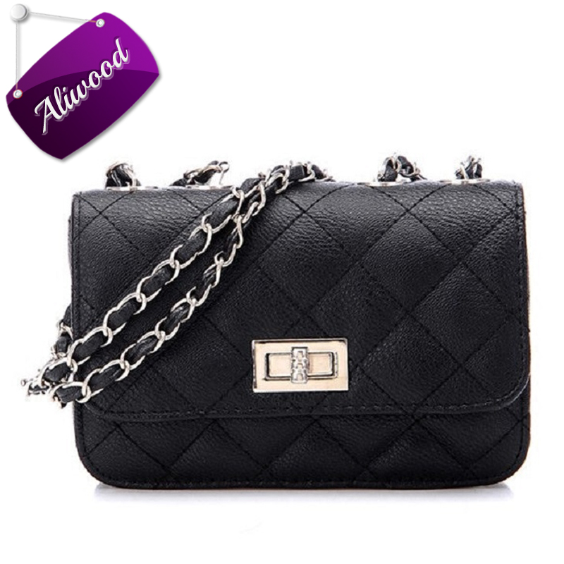 цены Aliwood Famous Brands Leather Women bag Chain Shoulder bags Ladies Crossbody Messenger bags Diamond lattice Hot sale handbags