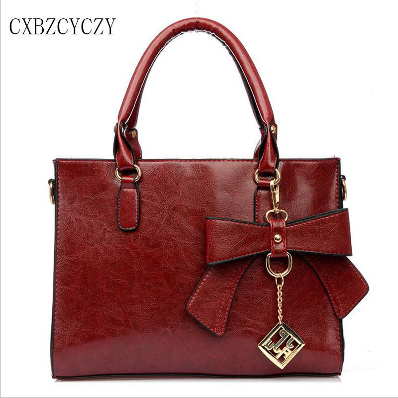 2017 Designer Shoulder Women Brand Bags Leather Female Women High Quality Bow Ti