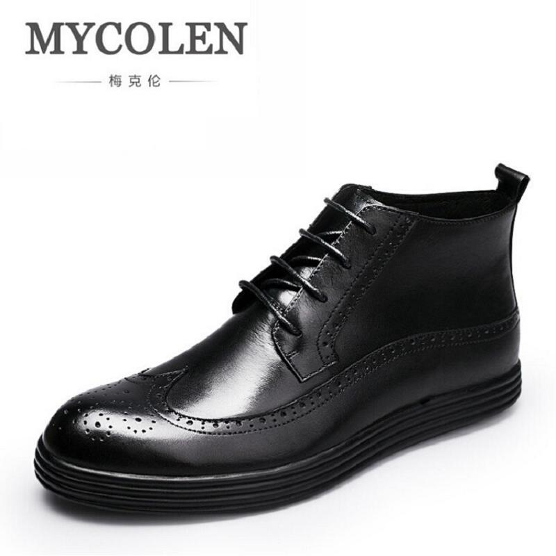 MYCOLEN Winter Boots Handmade Comfortable Bullock Men Boots Lace-Up Black Men Casual Autumn Male Shoes Leather Botas Hombre 2016 new autumn winter man casual shoes sport male leisure chaussure laced up basket shoes for adults black