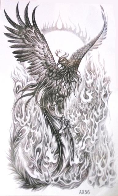 Black White Phoenix Vs Fire Nirvana Gain Life Again Temporary Tattoo