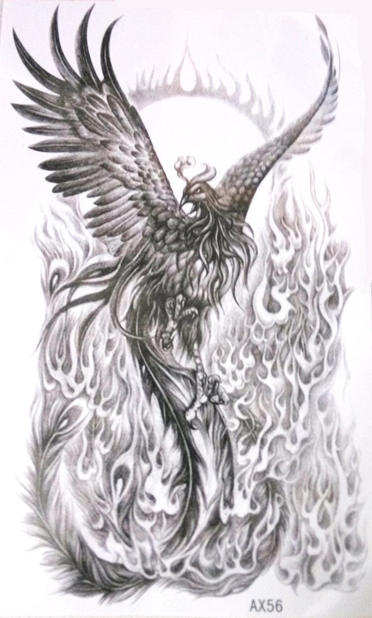 Noir blanc Phoenix vs Feu Nirvana Prendre Vie À Nouveau Tatouage Temporaire étanche Bras