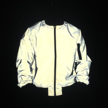 Мужские полные светоотражающие куртки ночь отражают свет хип-хоп бомбер куртка женщин молния летные  Лучший