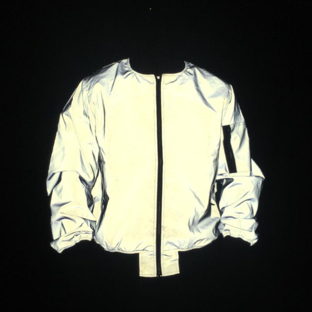 Men full reflective jacket night reflect light hip hop bomber jacket women zipper flight jackets and coats casual windbreaker