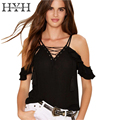 HYH HAOYIHUI Belt Black T-shirt Women V-neck Sleeveless Backless Tank Tops Ladies Sexy Casual Street Loose Basic Top Female