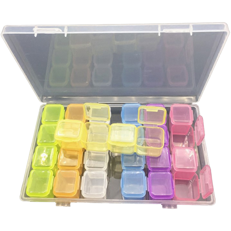 28 Grids Diamond Jewelry Case Comestic Storage Box Nail Accessory