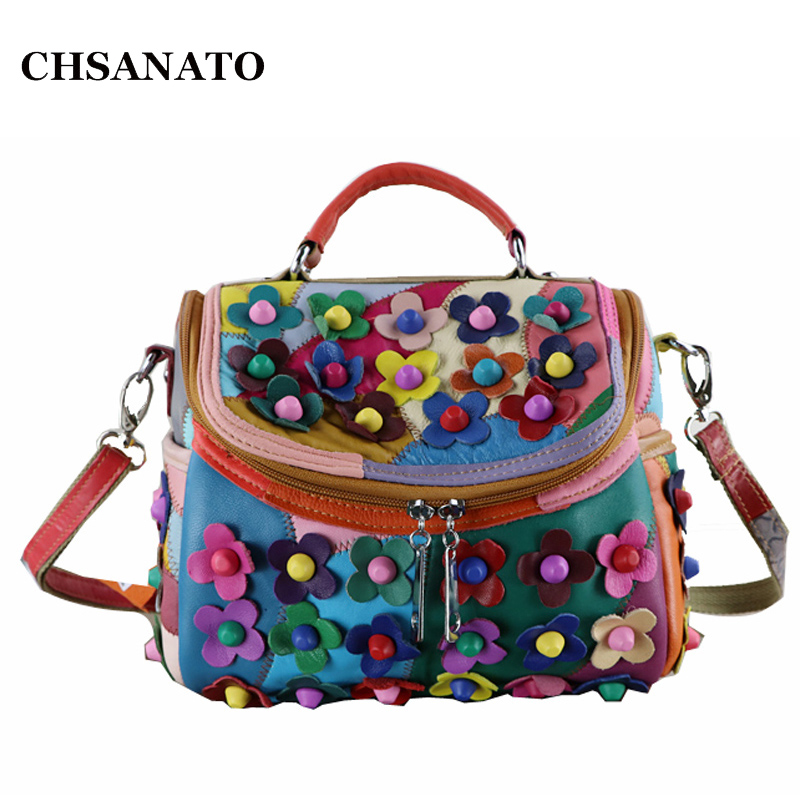 New Fashion Women's Colorful Genuine Leather Bags Patchwork Flower High Quality Women Messenger Bag 2018 Brand Small Tote Bag new fashion women vintage genuine leather messenger bag bucket bags high quality women messenger bag genuine leather