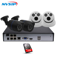 4CH 1080P POE 48V Real NVR Kit 1080P HD Vandalproof Dome Camera 2MP POE IP Camera