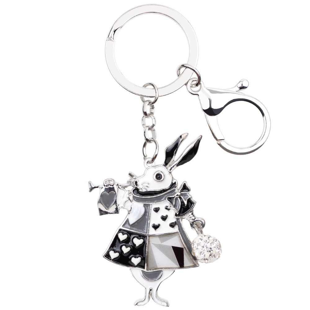 Bonany เคลือบฟันกระต่ายกระต่ายพวงกุญแจ Keychains แหวนรถกระเป๋า Charms จี้แฟชั่นเครื่องประดับสำหรับผู้หญิงของขวัญใหม่