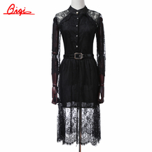 S-5XL sale Summer Dresses Hollow Out Women Half Sleeve Elastic Waist Floral Crochet Casual black Lace Dress Femininas Vestidos