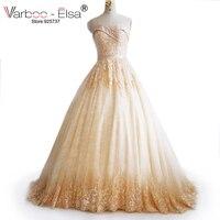 Robe De Mariee Mùa Đông Váy Cưới Ren Appliqued Pha Lê Champagne Wedding Dress Chapel train Zipper Buttons Cưới Gowns