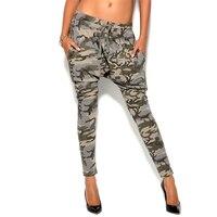 Women Harem Pants Fashion Military Style Camouflage Print Drawstring Elastic Waist Pocket Pencil Trousers Casual Brand