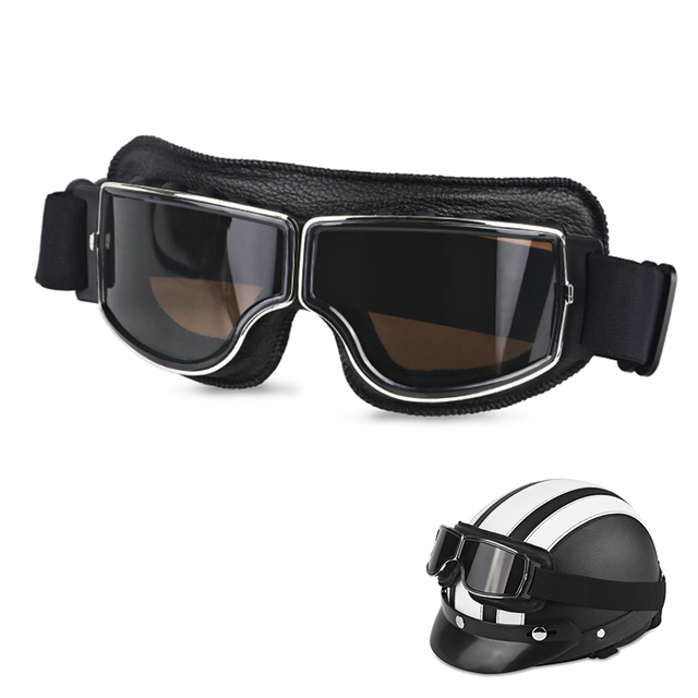 Foldable Retro Motorcycle Goggles Jet Pilot Aviator Cruiser Vintage Moto Biker Cycling Goggles Scooter Glasses