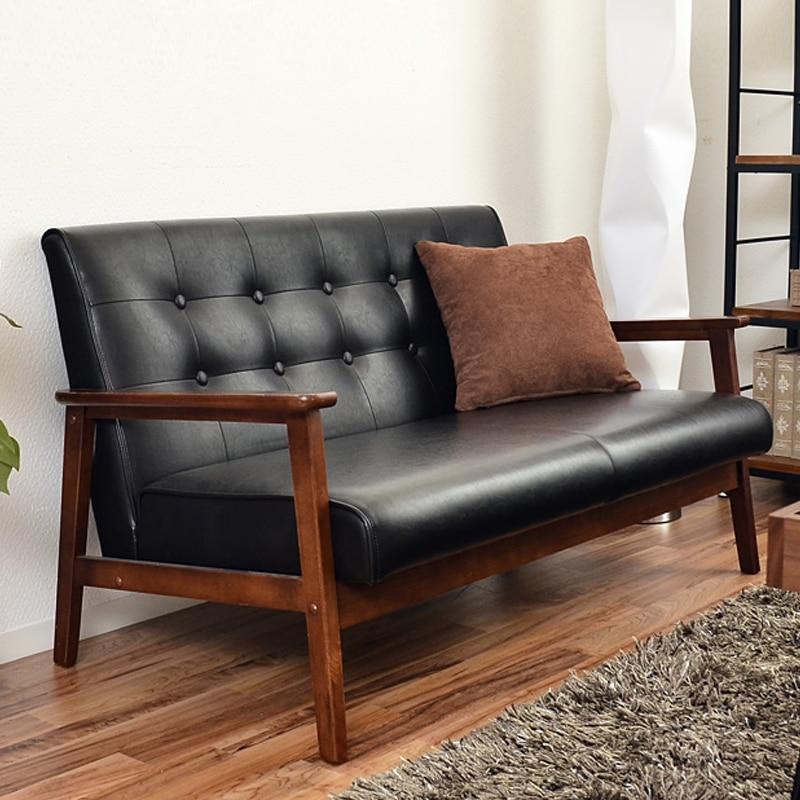 Japanese Style Sofa Wood Handrails Muji Sofa Small