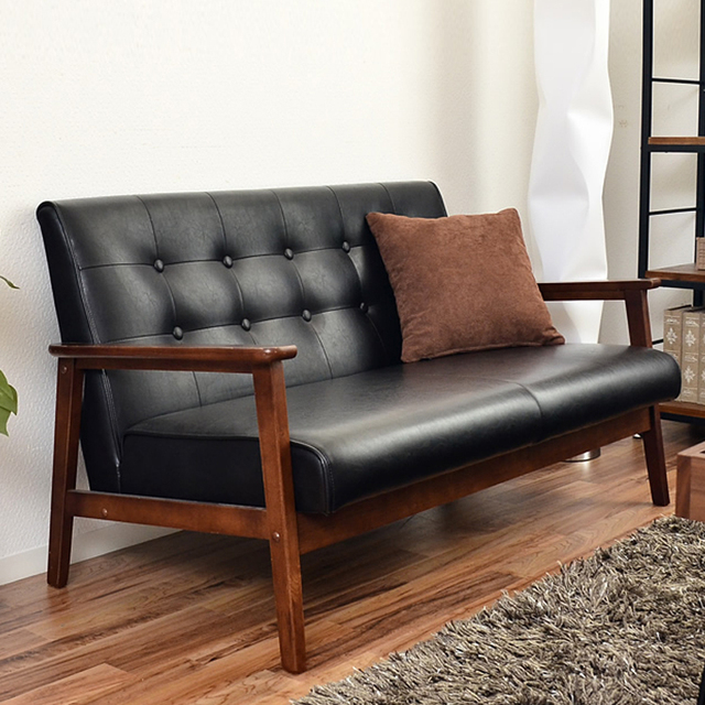 Japanese Style Sofa Wood Handrails Muji Sofa Small Apartment Cafe Chair  Club Lounge Chair