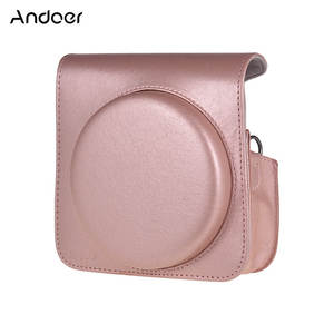 Andoer Brown/Pink/Black PU Leather Bag with Strap for Fujifilm Instax Square